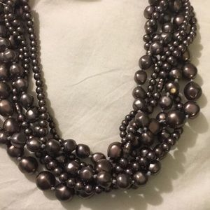 Jewelry - Pearl necklace, ribbon tie.